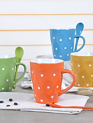 European-style Ceramic Dots Coffee Cup Mug Cup Couple Cups for Home (Random Color)