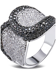 Latest Black & White Women Cubic Zircon Setting Deluxe Ring Elegant CZ Setting Hand Made Allergy Free
