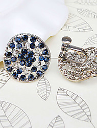 Stud Earrings Simulated Diamond Alloy Fashion Bridal Round Blue Jewelry Daily Casual 1 pair