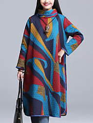 Women's Casual /Chinoiserie Quilted Loose Dress,Print Turtleneck Multi-color Cotton /Linen Spring /Fall /Winter
