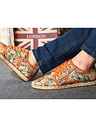 Damen-Flache Schuhe-Lässig-Leinen-Flacher Absatz-Espadrillas-Orange