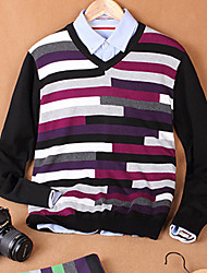 Men's Striped Casual Pullover,Cotton Long Sleeve Green / Red
