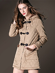 BURDULLY Women's Stand Long Sleeve Down & Parkas Black / Khaki-5588