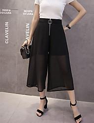 Pantalon Aux femmes Large / Ample simple Coton / Polyester / Nylon Micro-élastique