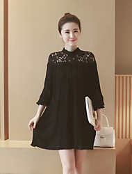 Maternity Casual/Daily Cute Loose Dress,Solid Stand Above Knee Long Sleeve Black Silk Fall