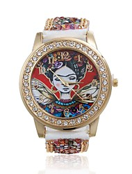 Women/Lady's Cute Special Artist Case Acrylic Beads Leather Band Fashion Watch