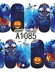 1pcs Nail Art Halloween Sticker Pumpkin Witch Skull DIY Nail Art Decoration A1085