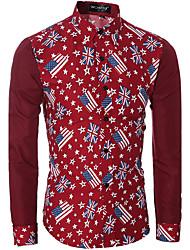 Men's Print Casual Shirt,Cotton Long Sleeve Blue / Red