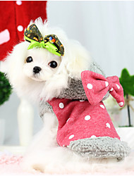 Dog Coat / Hoodie Red / Blue Winter / Spring/Fall Polka Dots / Bowknot Keep Warm, Dog Clothes / Dog Clothing
