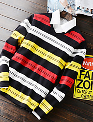 Men's Striped Casual Pullover,Cotton Long Sleeve Black / Green / Gray