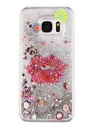 Lips Pattern Flowing Quicksand Liquid Glitter Plastic PC For Samsung Galaxy S7 edge Galaxy S7