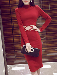Women's Going out Street chic Bodycon Dress,Solid Turtleneck Midi Long Sleeve Red / Black Cotton Fall