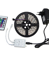 5M SMD 3528 RGB 300 LED Color Changing Kit with Flexible Strip Light+24 Key IR Remote Control+ Power Supply