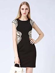 klimeda simple, robe imprimé bodycon des femmes, col rond mini-polyester