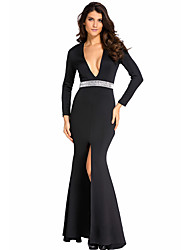 Women's Hollywood Jeweled Waist Front Slit Gown