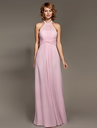 A-Line Halter Floor Length Chiffon Bridesmaid Dress with Criss Cross
