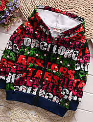 Boy's Cotton Spring/Autumn Fashion Print Long Sleeve Outerwear Zipper Hoodie Jacket Coat Thicken