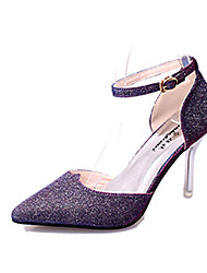 Women's Heels Summer / Fall Pointed Toe Glitter Casual Stiletto Heel Hook & Loop Black / Purple / White / Gold Walking