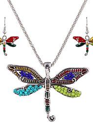 Schmuckset Halskette / Ohrringe Europäisch individualisiert Sterling Silber Harz versilbert Aleación Silber Blau Halsketten Ohrringe Für