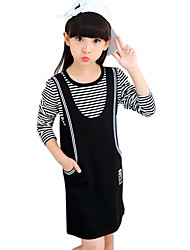 Girl's Cotton Spring/Autumn Fashion Stripes Patchwork Long Sleeve T Shirt And Overalls Suspender Skirt Clothing Set