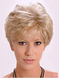 Capless Short Curly Fluffy Side Bang Synthetic Wigs for Women Golden Heat Resistant with Free Hair Net