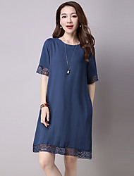 Women's Casual/Daily / Plus Size Simple Loose Dress,Solid Round Neck Above Knee Short Sleeve Blue / Pink Cotton / Linen Summer Mid Rise