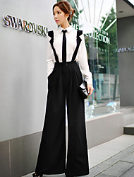 solides jambe large pantalon de sangles dabuwawa femmes, street chic / sophistiquée