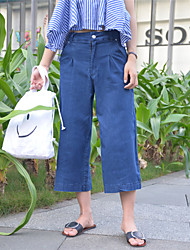 Women's Solid Blue Jeans / Wide Leg Pants,Simple