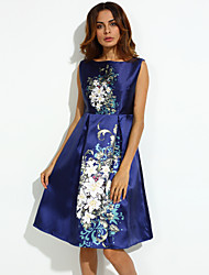 Women's Street chic A Line Dress,Print Boat Neck Above Knee Sleeveless Blue Polyester Summer