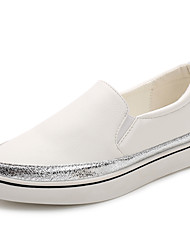 Damen-Flache Schuhe-Lässig-Kunstleder Mikrofaser-Plateau-Komfort-Schwarz Weiß