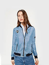 Women's Casual/Daily Simple Spring Denim JacketsEmbroidered Stand Long Sleeve Blue Cotton Medium