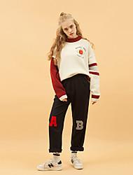 Damen Standard Pullover-Lässig/Alltäglich Einfach Einfarbig Beige Rundhalsausschnitt Langarm Wolle Herbst Mittel