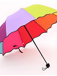 Colores Surtidos Paraguas de Doblar Soleado y lluvioso textil Viaje / Lady / Hombre