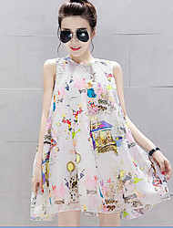 Maternity Casual/Daily Cute A Line Dress,Print Round Neck Above Knee Sleeveless White Polyester Summer