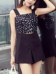 Women'sGoing out / Casual/Daily Sexy Solid Beaded / Patchwork Strap Sleeveless Cotton Micro-elastic Summer