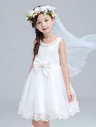A-line Knee-length Flower Girl Dress - Cotton / Satin / Tulle Sleeveless Jewel with Bow(s) / Pearl Detailing