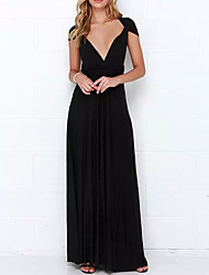 Women's Party/Cocktail Sexy Bandage Multiway Swing Long Dress,Solid Maxi Sleeveless Cotton / Polyester