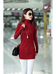 Damen Lang Pullover-Lässig/Alltäglich Einfach Solide Rosa / Rot / Weiß / Schwarz / Grün Rollkragen Langarm Baumwolle Frühling / Herbst
