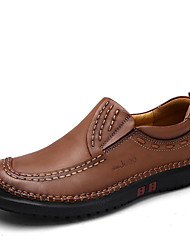 Men's Loafers & Slip-Ons Spring / Fall Comfort Cowhide Casual Flat Heel Slip-on Brown / Khaki Walking
