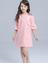 A-line Knee-length Flower Girl Dress - Lace / Satin Long Sleeve Jewel with Lace