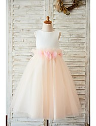 A-line Tea-length Flower Girl Dress - Satin / Tulle Sleeveless Jewel with Bow(s) / Flower(s)