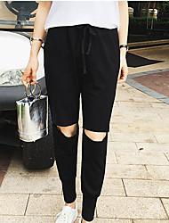 Feminino Solto Jeans Calças-Cor Única Casual Simples Algodão Inelástico Verão