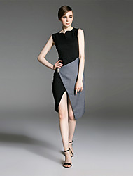 ES DANNUO  Women's Formal Cocktail Simple Sheath Dress,Color Block Asymmetrical Asymmetrical Sleeveless Black Cotton