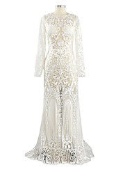 Trumpet / Mermaid Wedding Dress Court Train Jewel Lace / Tulle with Pattern