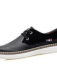 Femme-Décontracté-Noir / Bleu / Marron-Talon Plat-Confort-Sneakers-Cuir