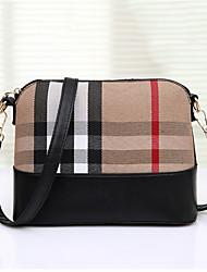 Women PU Casual Outdoor Shopping Stitching Color Plaid Stripe Shell Shoulder Bag