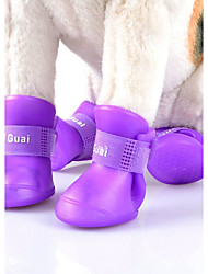 Blue/Black/Purple/Yellow/Pink Waterproof Multicolors Deslick Rubber Rain Shoes for Pets