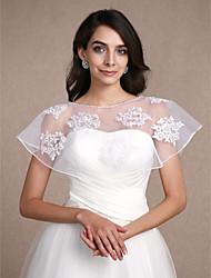 Estolas Femininas Boleros Sem Mangas Renda Branco Casamento Festa Concha 30cm Renda Padrão Pulôver