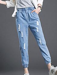 Damen Hose - Einfach Jeans Baumwolle Unelastisch