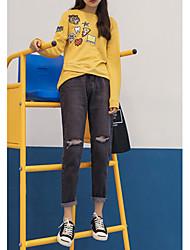 Pantalon Aux femmes Large / Jeans simple Coton / Polyester Micro-élastique